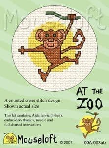 Mouseloft Monkey At The Zoo cross stitch kit